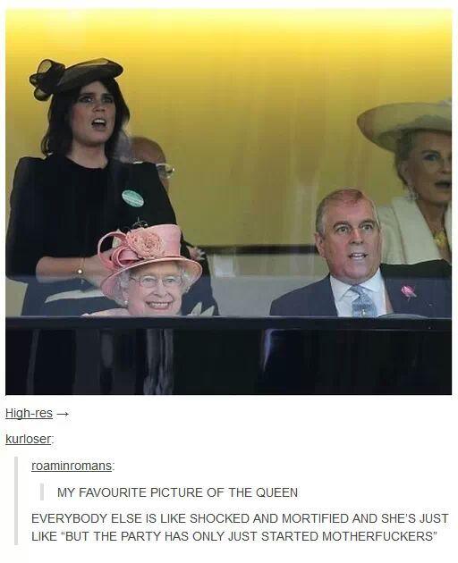 the queen be like: yeah suck that midgets dick - meme