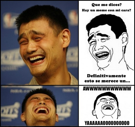 awwww yea en version yao ming - meme