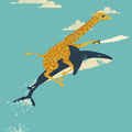 In case you haven't seen a giraffe riding a shark